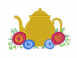 Teapot with Flowers embroidery design