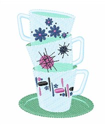 Stack of cups embroidery design