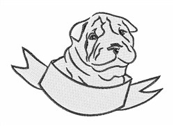 Shar Pei Head embroidery design