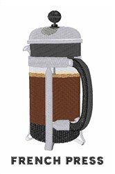 French Press embroidery design