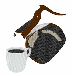 Coffee Pot & Cup embroidery design