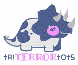 Triceratops Terror Tots embroidery design
