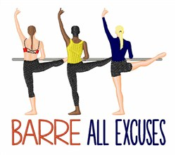 Barre Excuses embroidery design