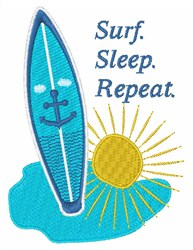 Surf. Sleep. Repeat. embroidery design