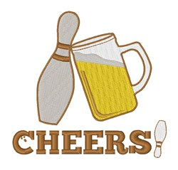 Cheers Bowling embroidery design