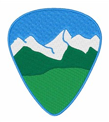 Mountain Guitar Pick embroidery design