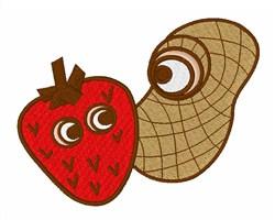 Strawberry & Peanut embroidery design
