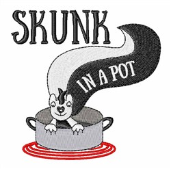 Skunk In A Pot embroidery design