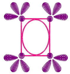 Oval Daisy Frame embroidery design