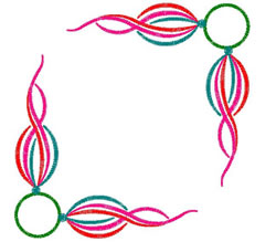 Circle and Swirl Frame embroidery design