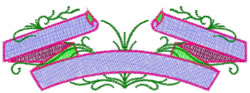 Ribbon Scroll embroidery design