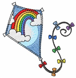 Rainbow Kite embroidery design