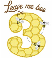 3 Year Old Honey Bee embroidery design