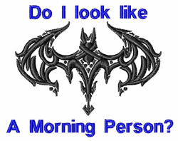 Morning Person embroidery design