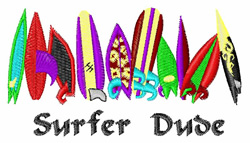 Surfer Dude embroidery design
