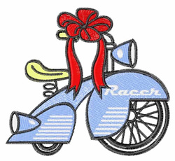Tricycle With Ribbon embroidery design