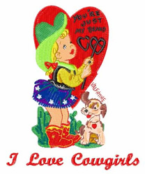 I Love Cowgirls embroidery design