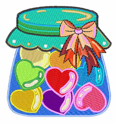 Hearts In Jar embroidery design