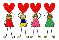 Kids With Hearts embroidery design