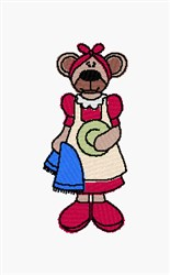 Dish Washing Bear embroidery design