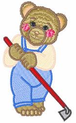 Teddy Bear Gardener embroidery design