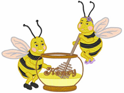 Honeybees embroidery design