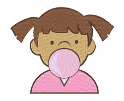 Girl Blowing Bubble embroidery design