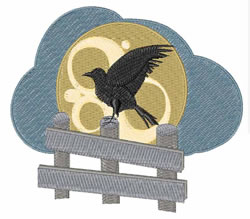Raven On Fence embroidery design