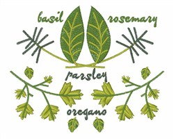 Various Herbs embroidery design