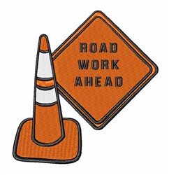 Road Work Ahead embroidery design