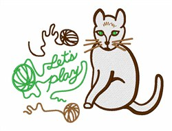 Lets Play Kitty embroidery design