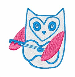 Guitar Playing Owl embroidery design