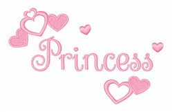 Pink Princess Hearts embroidery design