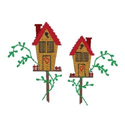 Two Bird Houses embroidery design