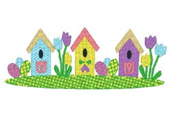 Easter Bird Houses embroidery design