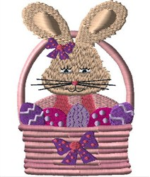 Girl Bunny In Basket embroidery design