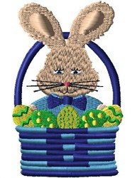 Boy Bunny In Basket embroidery design