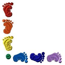 Corner Baby Feet embroidery design