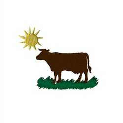 Cow on Pasture Under the Sun embroidery design