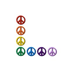 Rainbow Peace Corner embroidery design