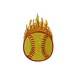 Softball Flames embroidery design