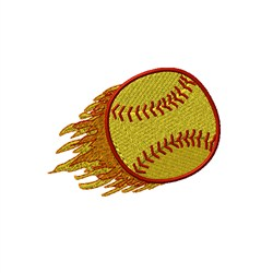 Flaming Softball embroidery design