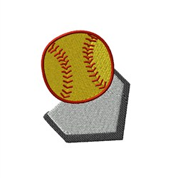 Softball and Base embroidery design