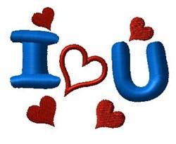 I Heart U embroidery design