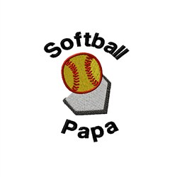Softball Papa embroidery design