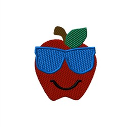Apple with Sunglasses embroidery design