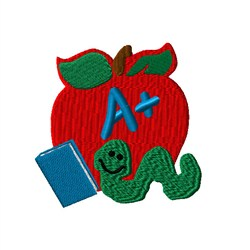 Book Worm Apple embroidery design