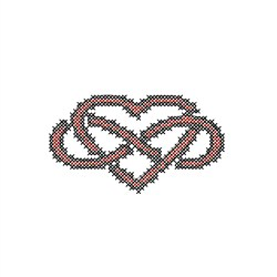 Infinity Heart Cross Stitch embroidery design