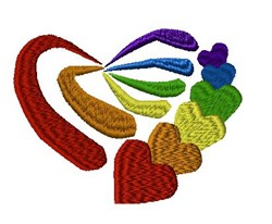 Heart Rainbow embroidery design