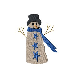 Primitive Snowman embroidery design